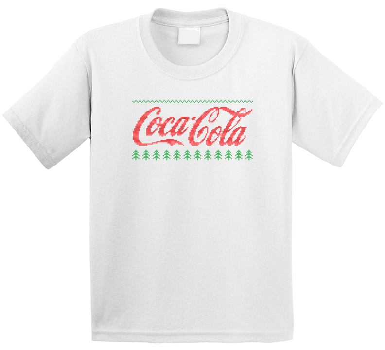 Coca Cola Logo Ugly Sweater Knitted Stitched Look Christmas Gift Kids T Shirt
