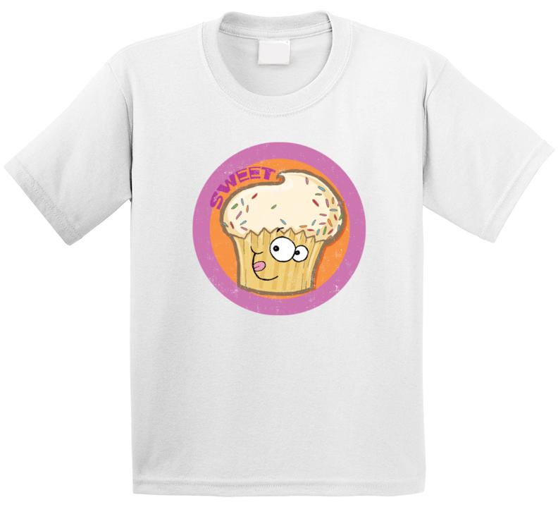 Sweet Cupcake Retro Scratch N Sniff Teacher Sticker Funny Novelty Kids T Shirt