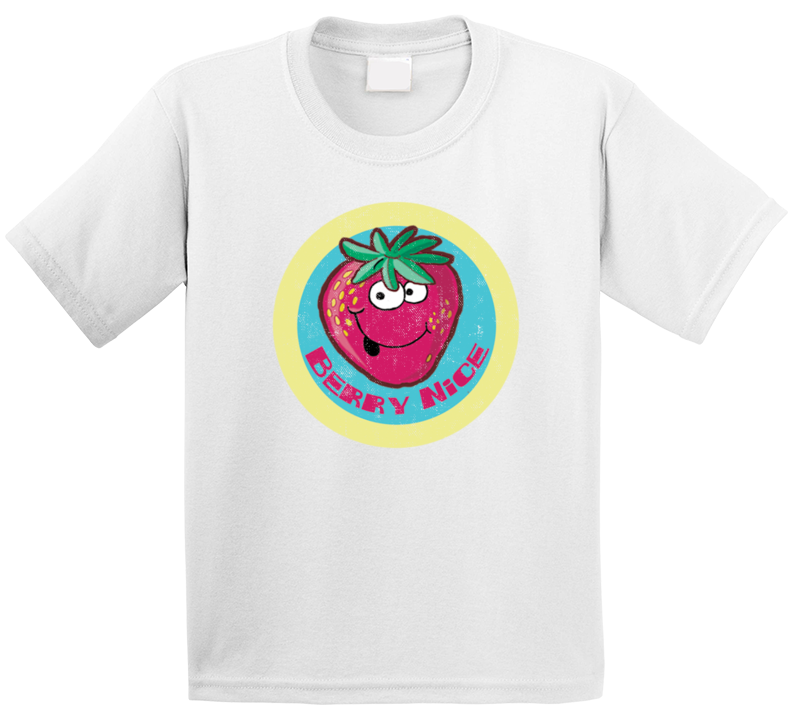 Berry Nice Strawberry Retro Scratch N Sniff Teacher Sticker Funny Novelty Kids T Shirt