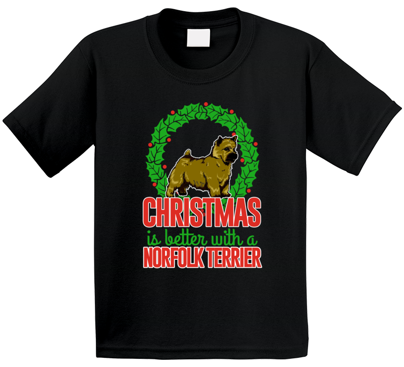Christmas Is Better With A Norfolk Terrier Holiday Custom Dog Breed Gift Kids T Shirt