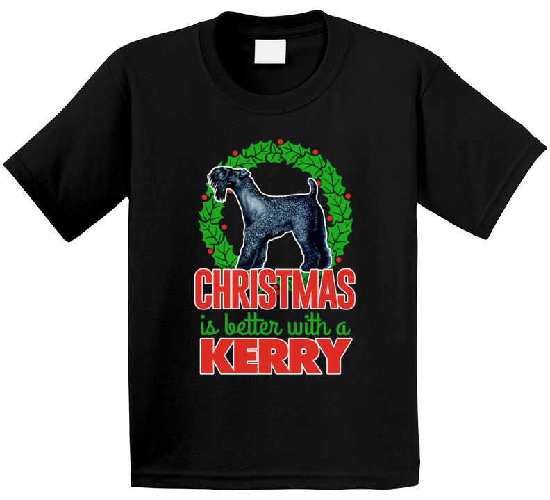 Christmas Is Better With A Kerry Blue Terrier Cute Holiday Custom Dog Breed Gift Kids T Shirt