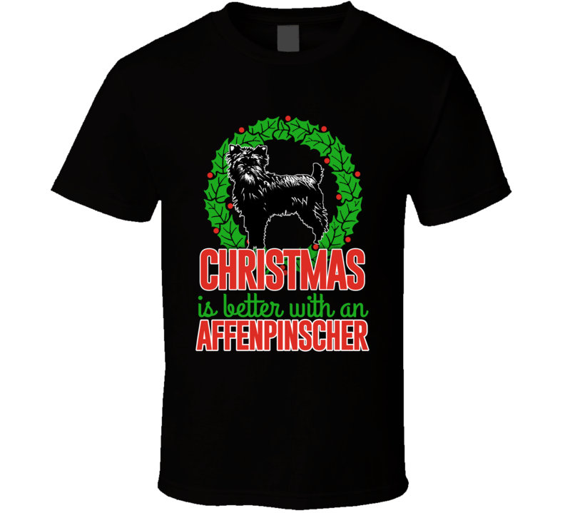 Christmas Is Better With An Affenpinscher Cute Holiday Custom Dog Breed Lover Gift Kids T Shirt