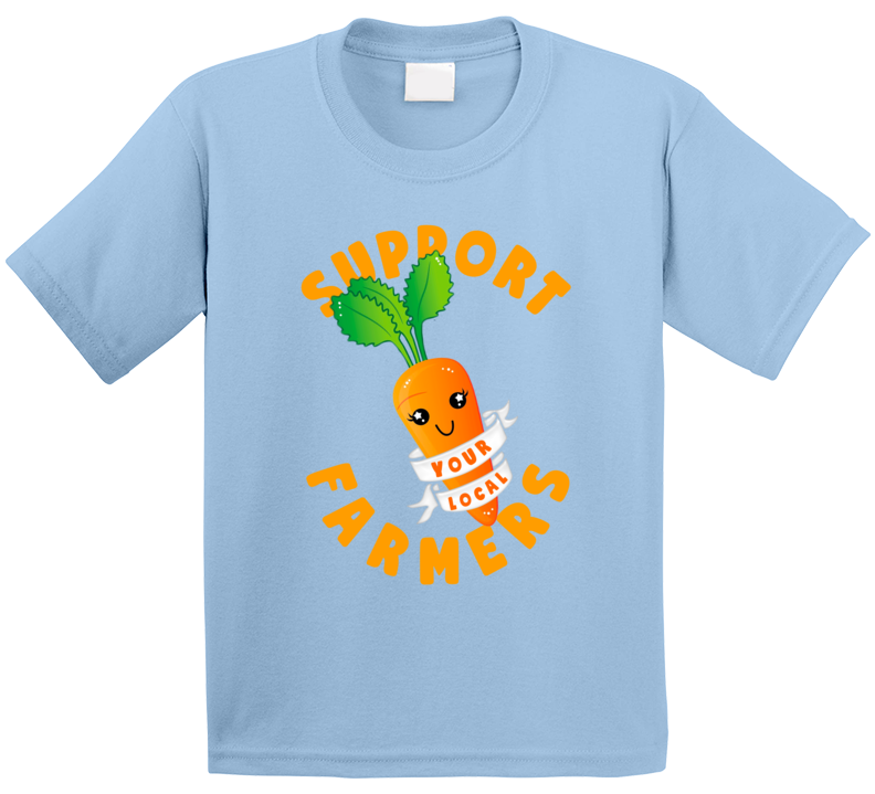 Support Your Local Farmers Cute Carrot Kids T Shirt