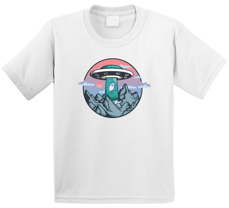 Ufo Shark Cute Funny Kids T Shirt
