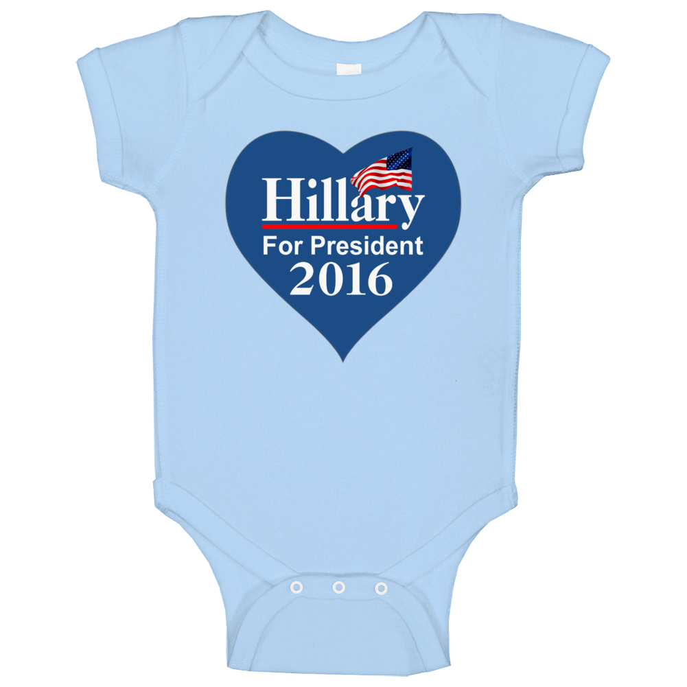 Hillary Clinton For President 2016 Heart Campaign Baby One Piece