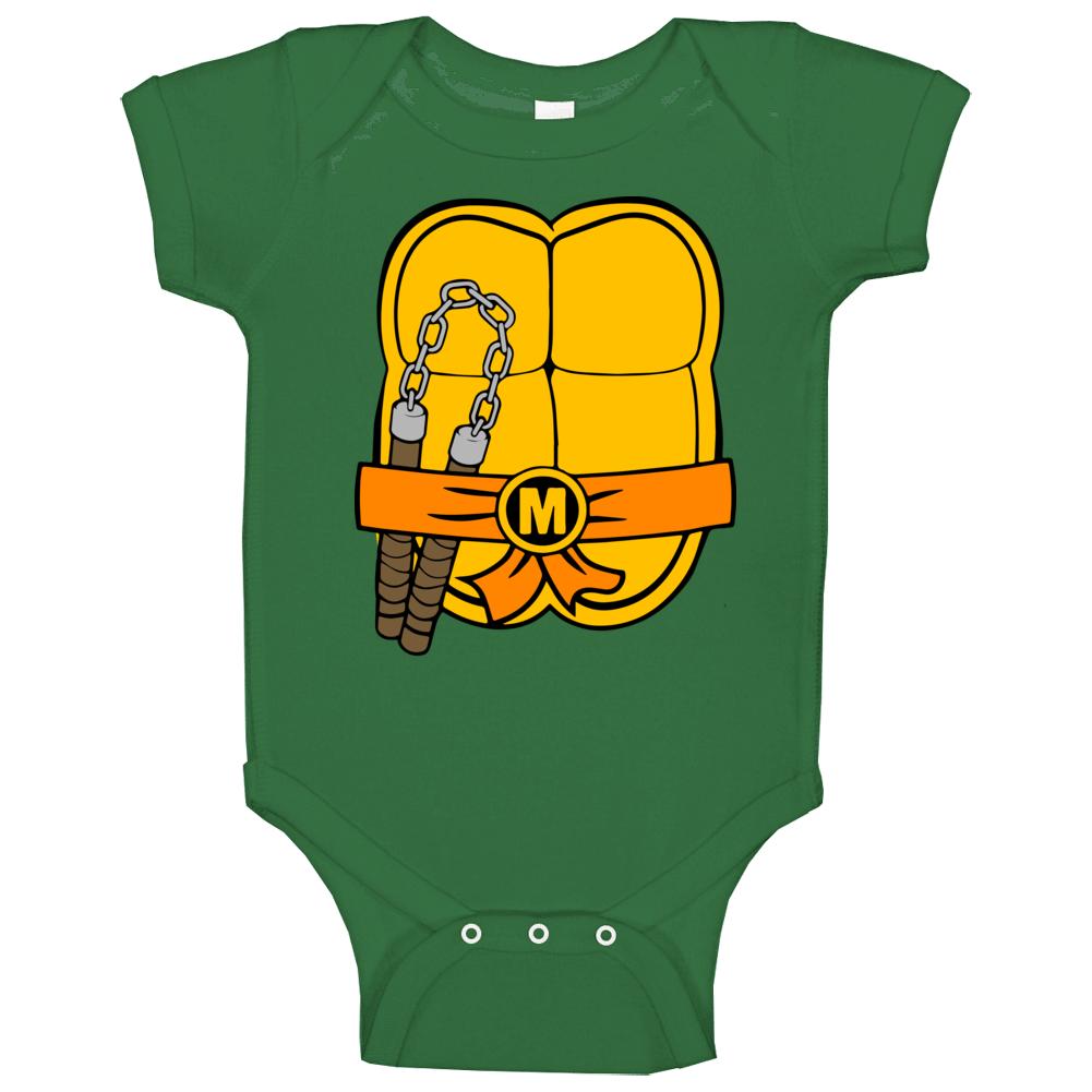 Michaelangelo Ninja Turtles Chest Shell Halloween Costume Baby One Piece