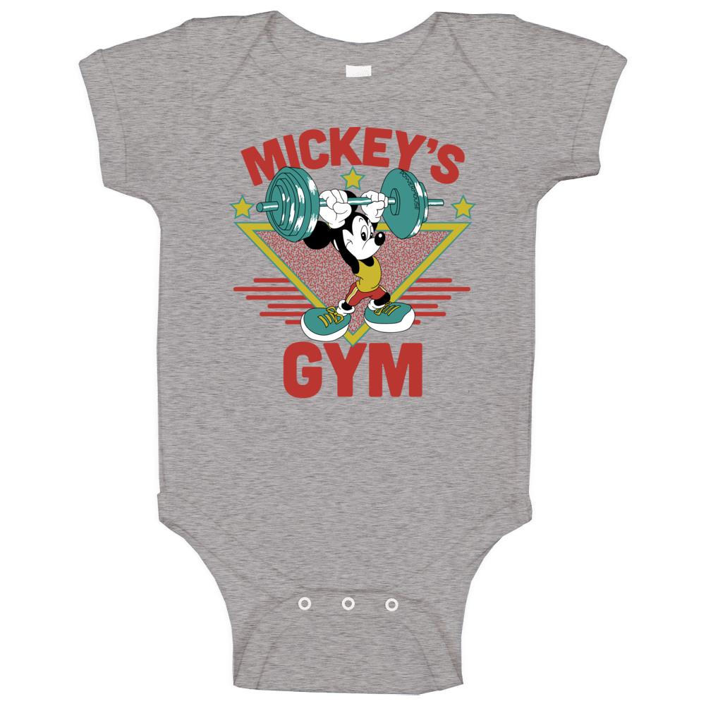 Walt Disney Mickey Mouse Gym Bodybuilder Tourist Punk Rock Baby One Piece
