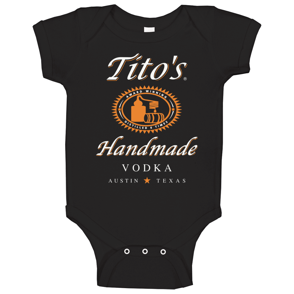 Tito's Handmade Vodka Logo Label Drinking Booze Party Baby One Piece
