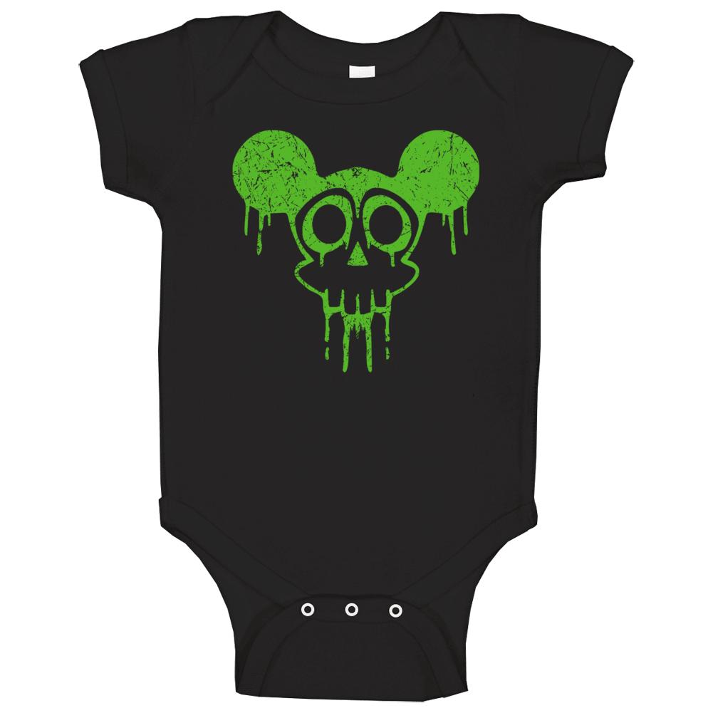 Radioactive Dripping Mickey Mouse Skull Head Halloween Baby One Piece