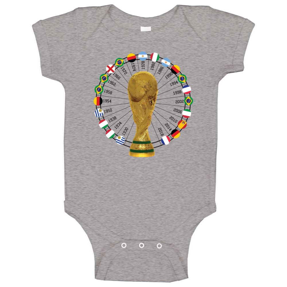 France World Cup 1930 To 2018 Winners Champions Trophy Fan Baby One Piece