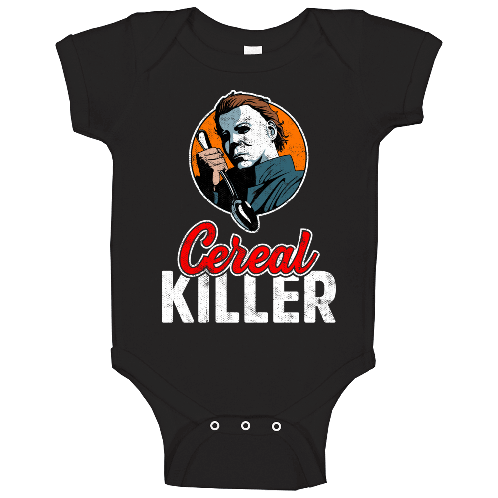 Michael Myers Cereal Killer Funny Halloween Costume Worn Look Baby One Piece