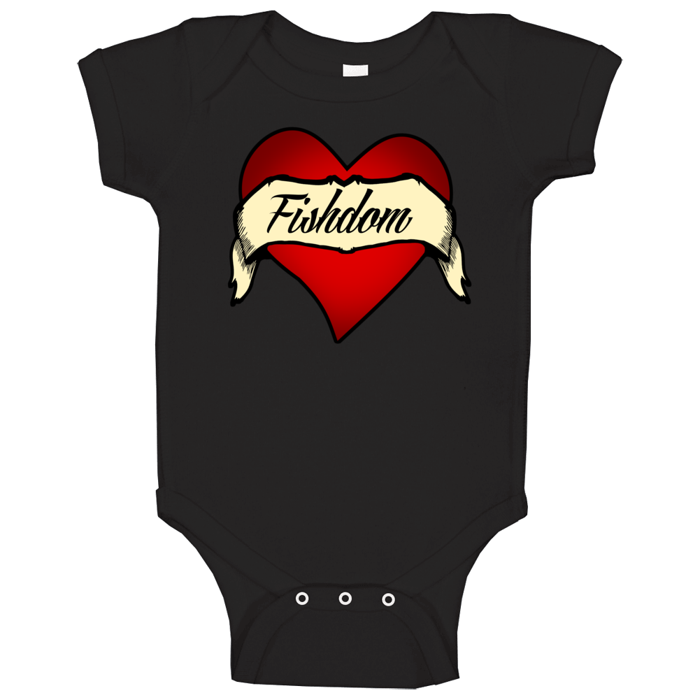 Fishdom Heart Tattoo Popular Video Game Fan Baby One Piece