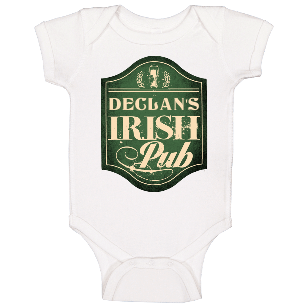 Declan Irish Pub St Patricks Day Beer Party Custom Name Baby One Piece