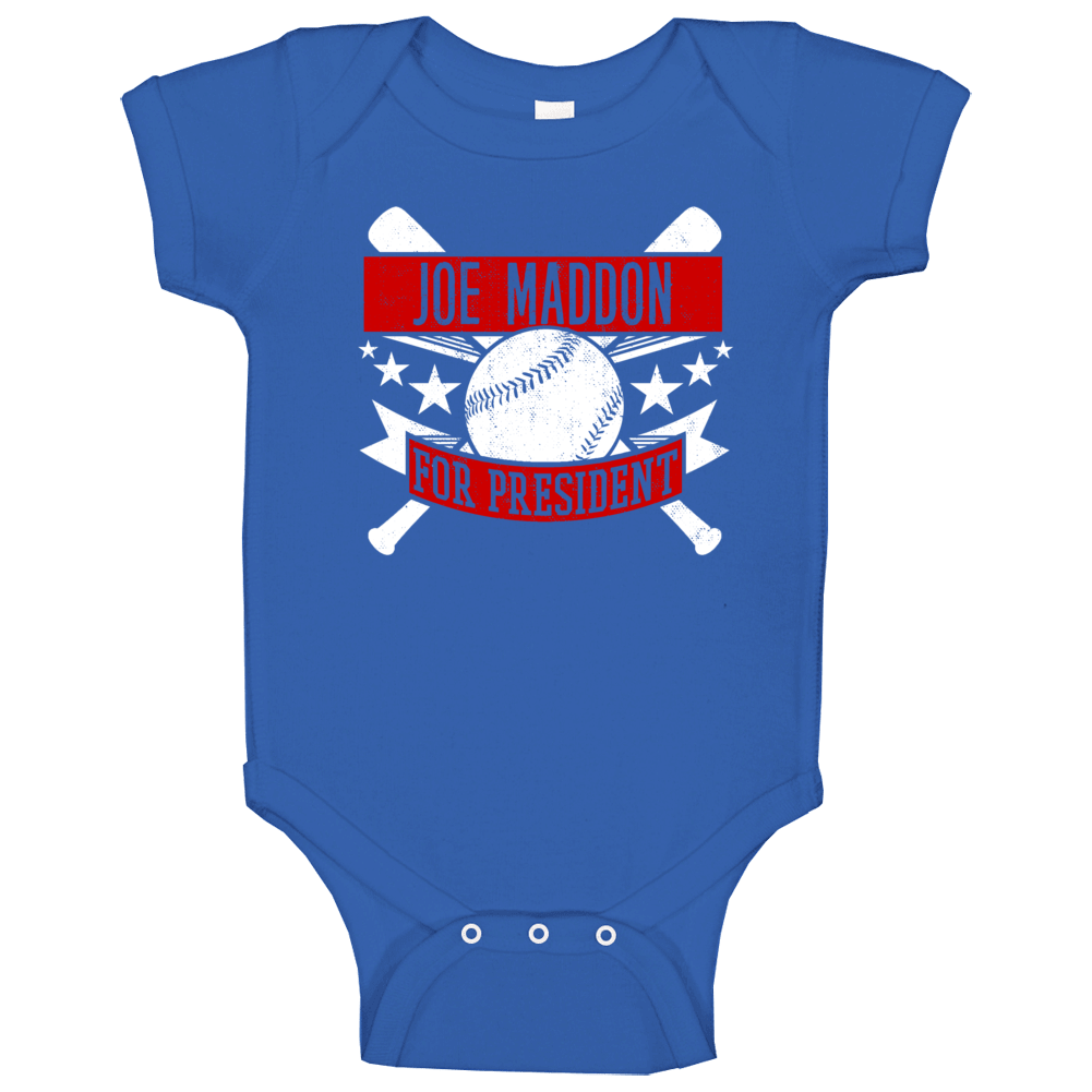 Joe Maddon For President Chicago Chi Baseball Player Funny Baby One Piece