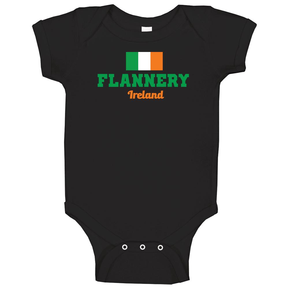 Flannery Ireland Flag Custom Irish Last Name St Patricks Day Baby One Piece