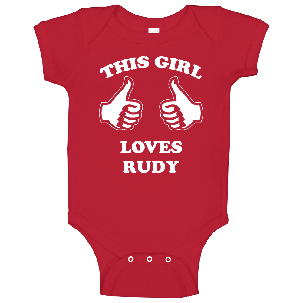 This Girl Loves Rudy Name Baby One Piece