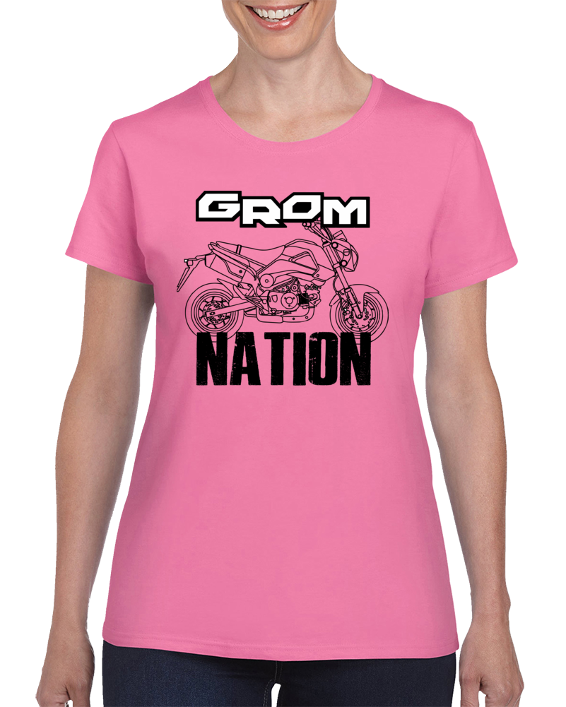 Grom Nation - Honda Grom - Ladies Pink Shirt