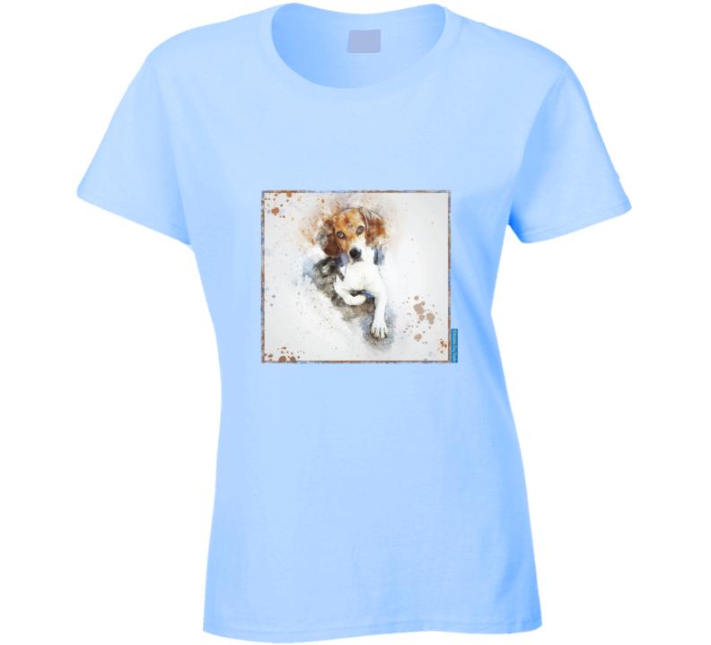 Portrait Beagle.  Blue 0713 Ladies T Shirt