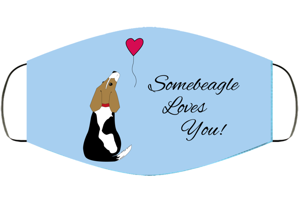 Somebeagle Loves You Face Mask Cover