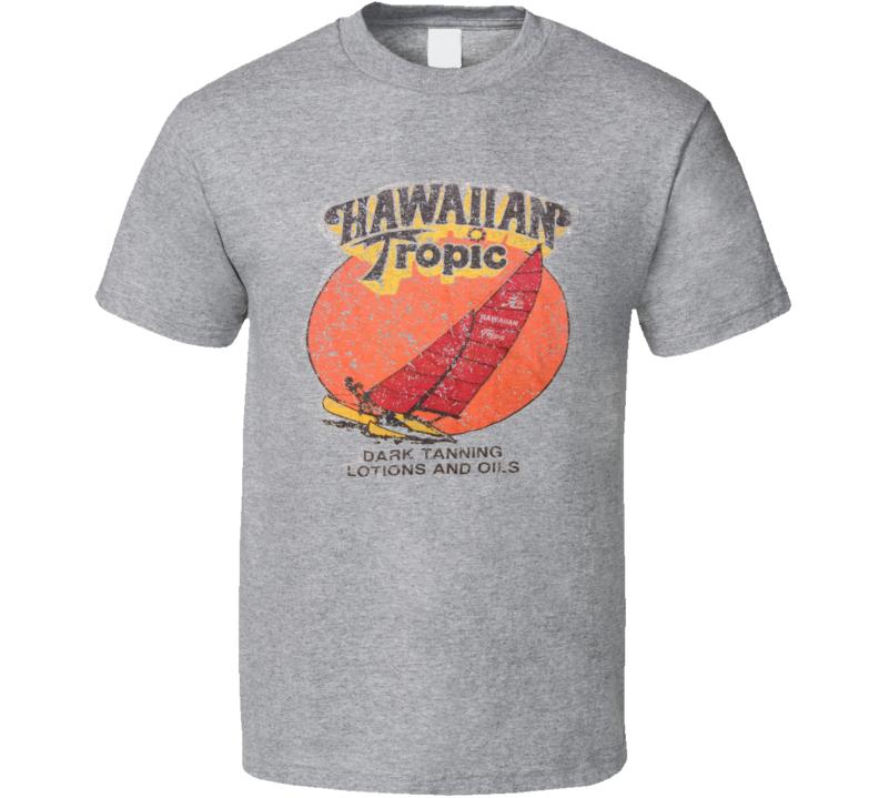 Hawaiian Tropic Dark Tanning  Oil 80s Vintage Distressed Fan T Shirt
