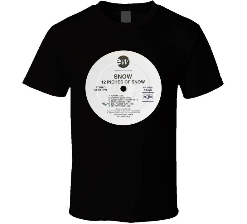 Snow Informer 12 Inches Of Snow Rap 1993 Record Fan T Shirt