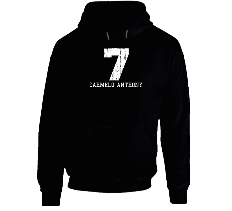Carmelo Anthony #7 New York City Basketball Worn Look Sports Hoodie
