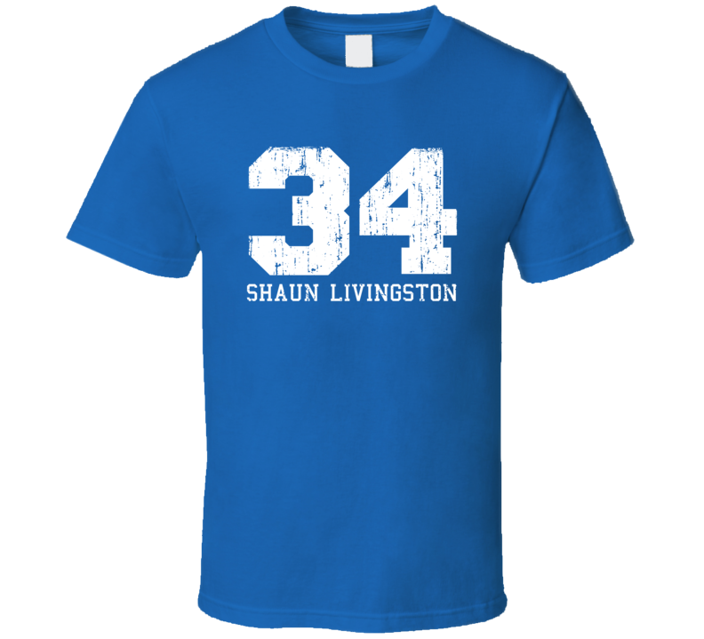 Shaun Livingston #34 Golden State Basketball Worn Look Sports T Shirt