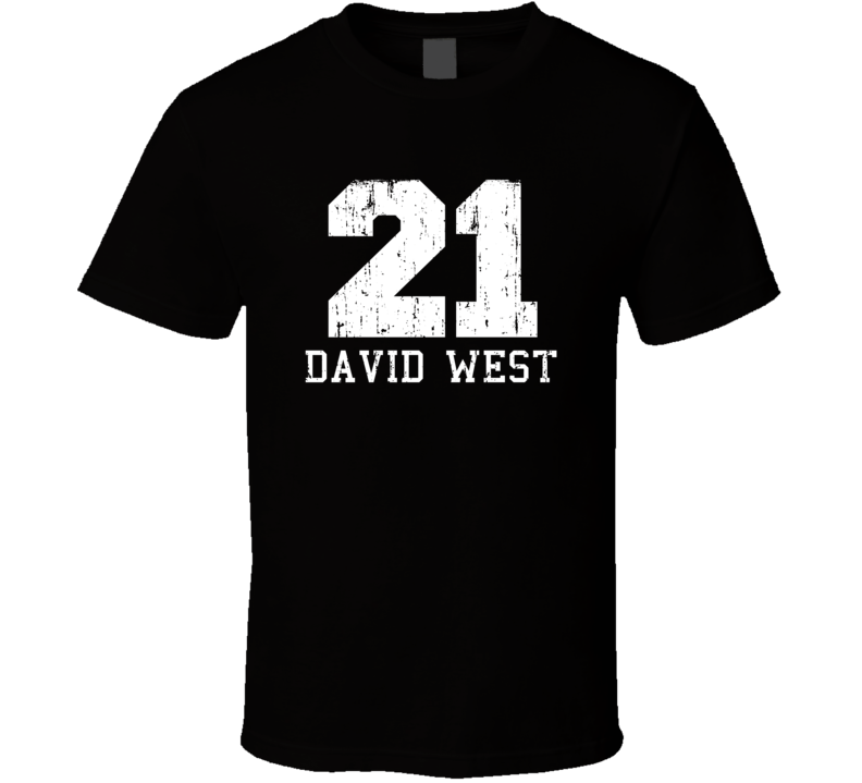 David West No.21 Golden State Basketball Fan Worn Look Sports T Shirt