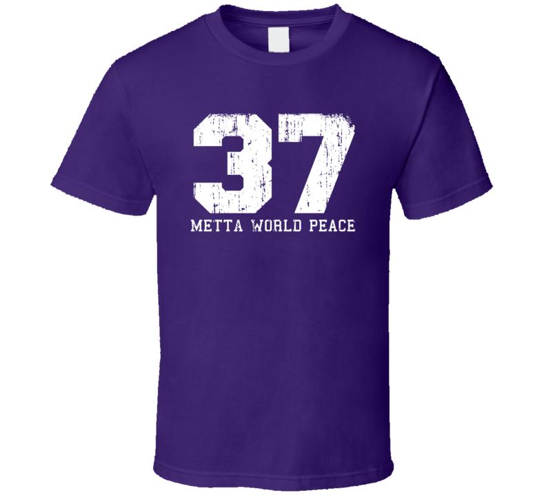 Metta World Peace No.37  Basketball Fan Worn Look Sports T Shirt