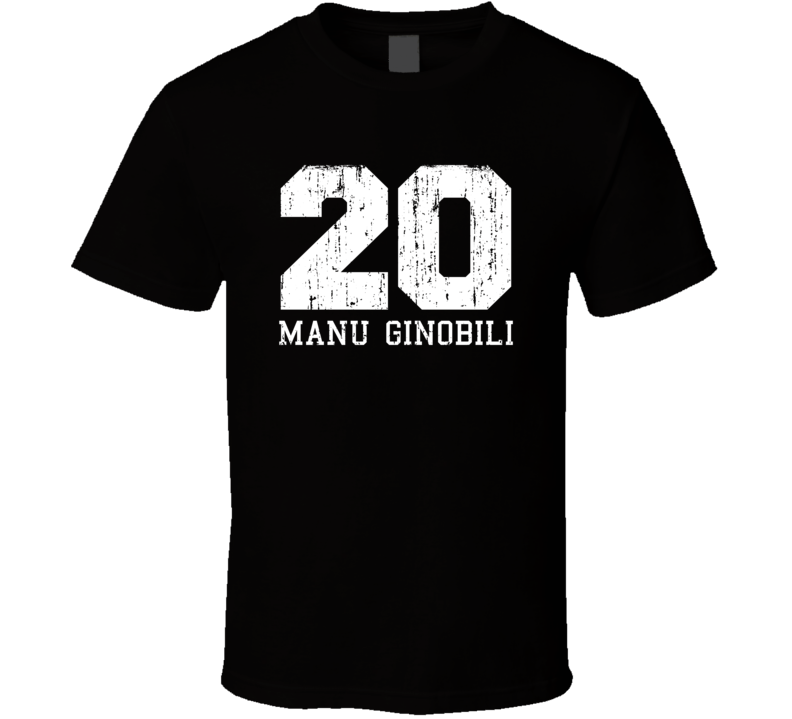 Manu Ginobili #20 San Antonio Basketball Fan Worn Look Sports T Shirt