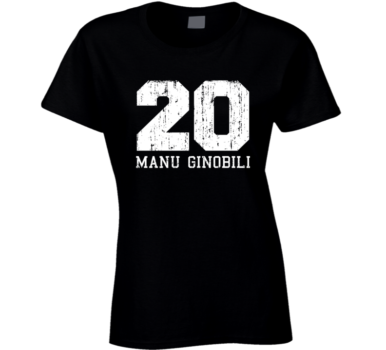 Manu Ginobili #20 San Antonio Basketball Fan Worn Look Ladies T Shirt