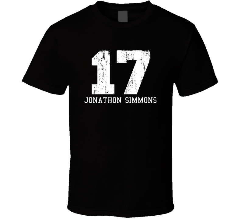 Jonathon Simmons #17 San Antonio Basketball Worn Look Sports T Shirt