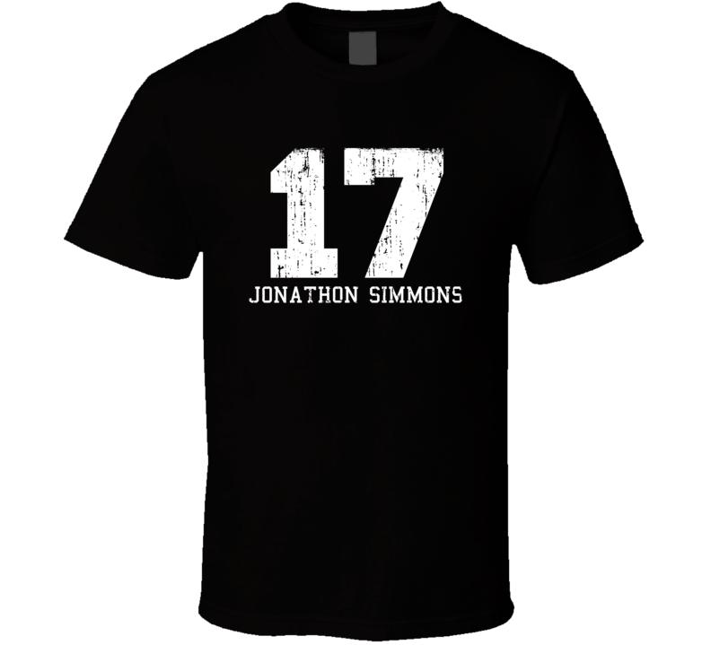 Jonathon Simmons #17 San Antonio Basketball Worn Look Sports T Shirt