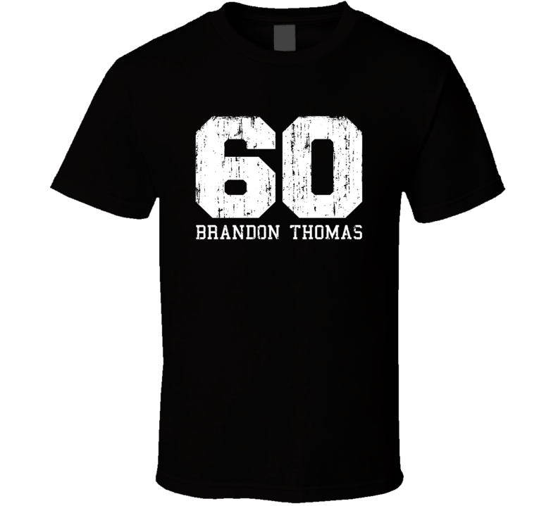 Brandon Thomas No.60 San Francisco Football Worn Look Sports T Shirt