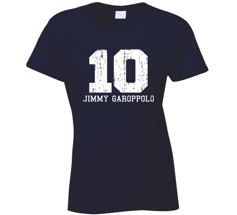 Jimmy Garoppolo #10 Patriots Football Worn Look Sports Ladies T Shirt