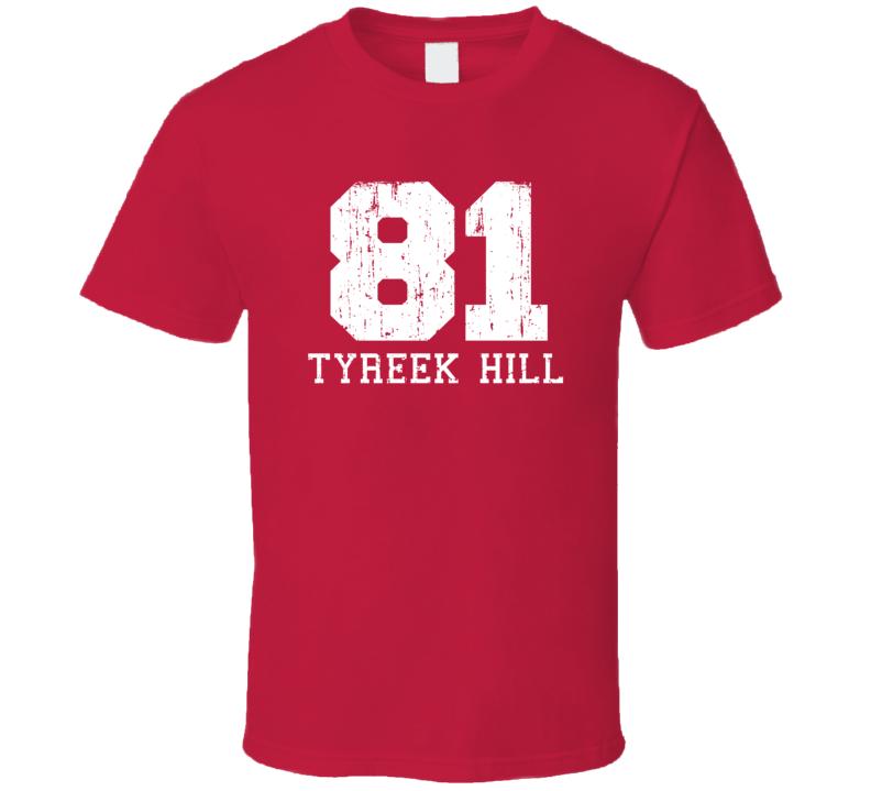 Tyreek Hill No.81 Kansas City Football Fan Worn Look Sports T Shirt