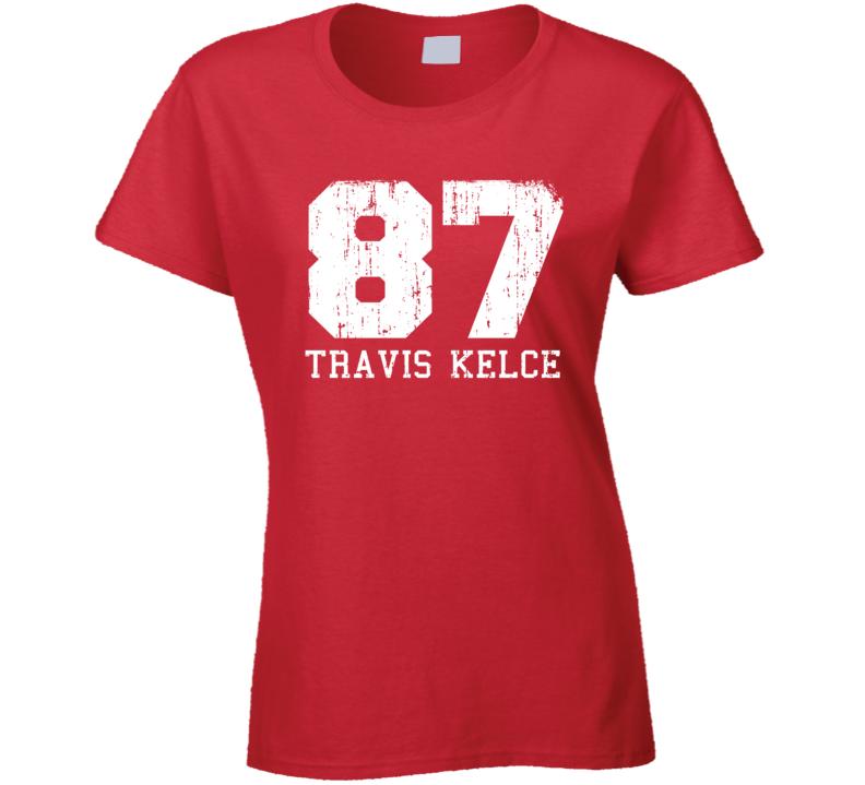 Travis Kelce #87 Kansas City Football Worn Look Sports Ladies T Shirt