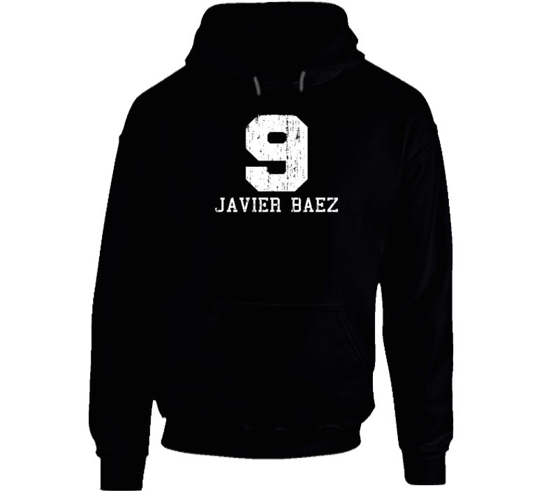 Javier Baez No.9 Chicago Baseball Fan Worn Look Sports Hoodie