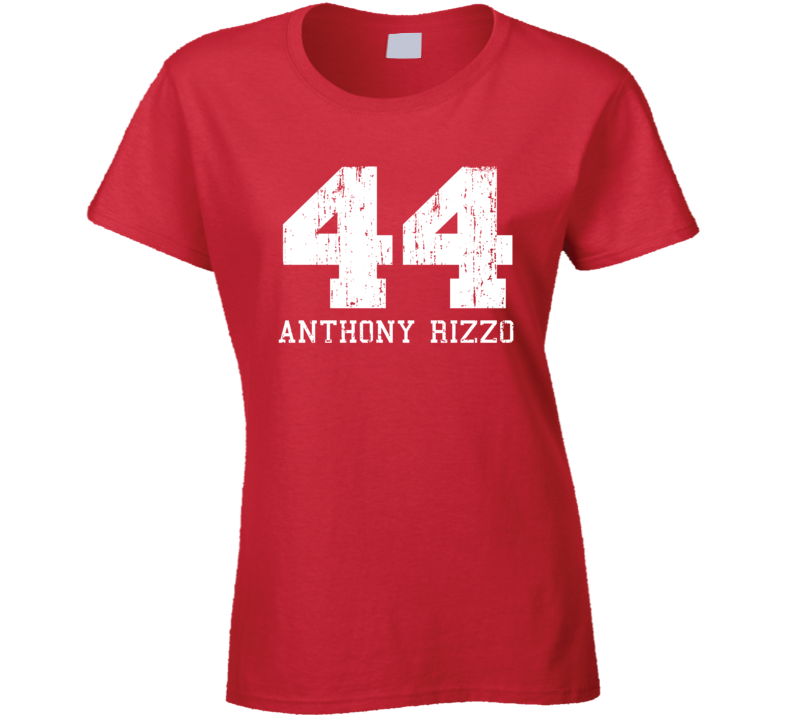 Anthony Rizzo #44 Chicago Baseball Fan Worn Look Sports Ladies T Shirt
