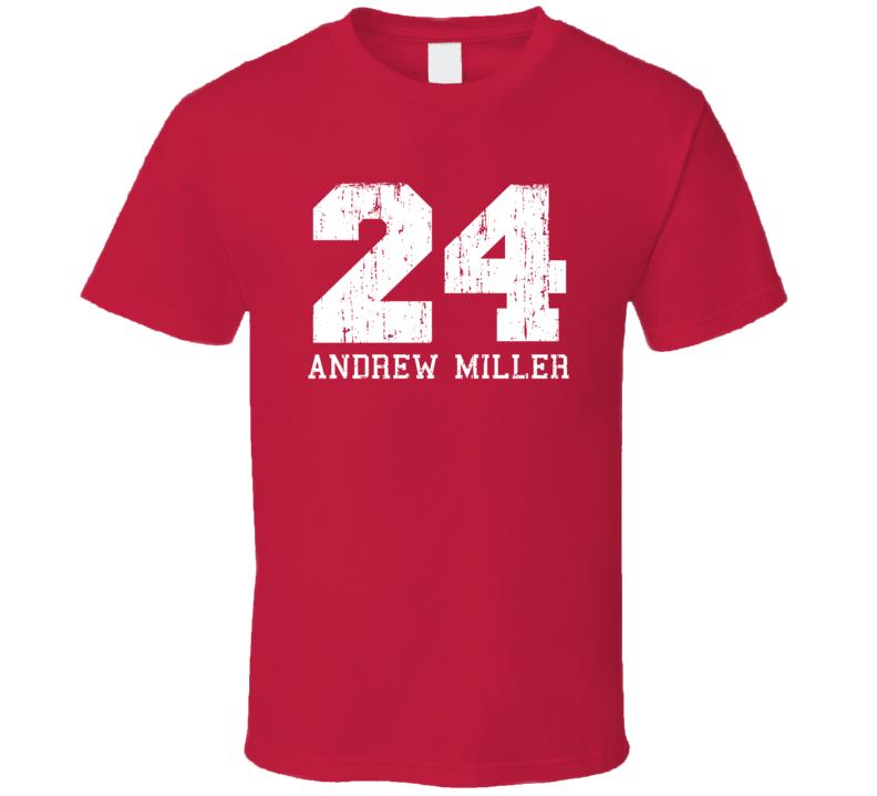 Andrew Miller No.24 Cleveland Baseball Fan Worn Look Sports T Shirt