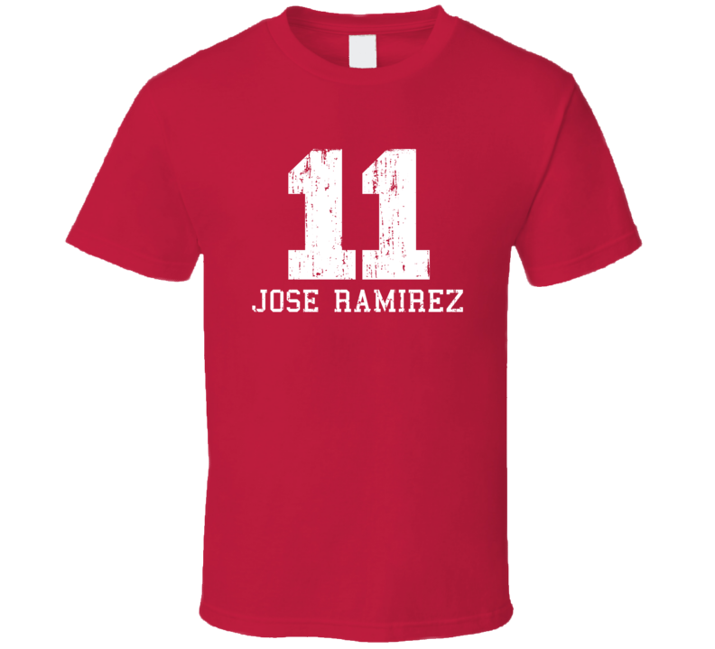 Jose Ramirez No.11 Cleveland Baseball Fan Worn Look Sports T Shirt