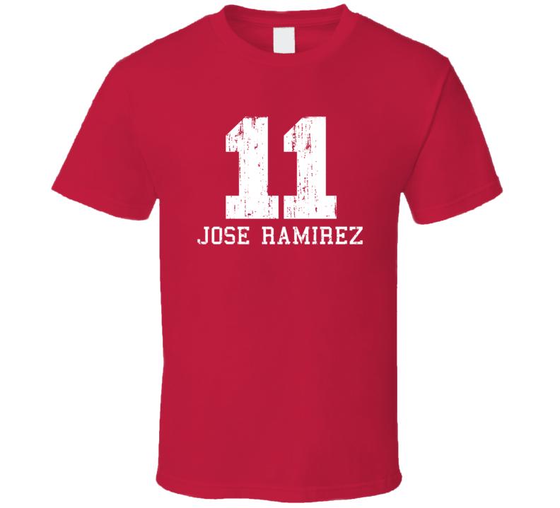 Jose Ramirez No.11 Cleveland Baseball Fan Worn Look Sports T Shirt
