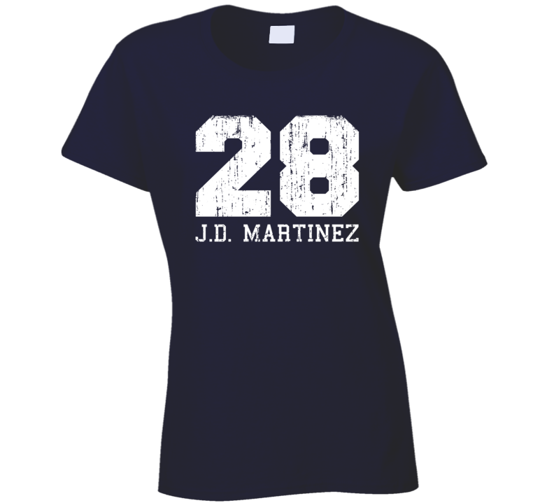 J.D. Martinez #28 Detroit Baseball Fan Worn Look Sports Ladies T Shirt
