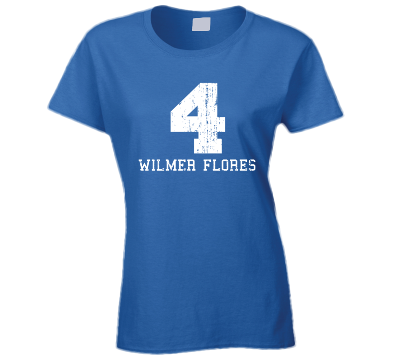 Wilmer Flores #4 New York Baseball Fan Worn Look Sports Ladies T Shirt