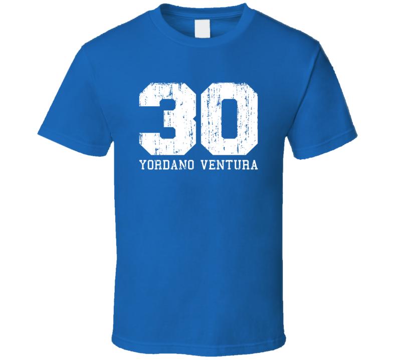 Yordano Ventura #30 Kansas City Baseball Fan Worn Look Sports T Shirt