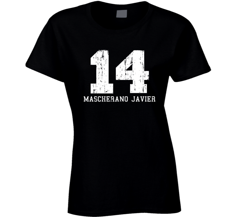 Mascherano Javier #14 Barcelona Soccer Worn Look Sports Ladies T Shirt