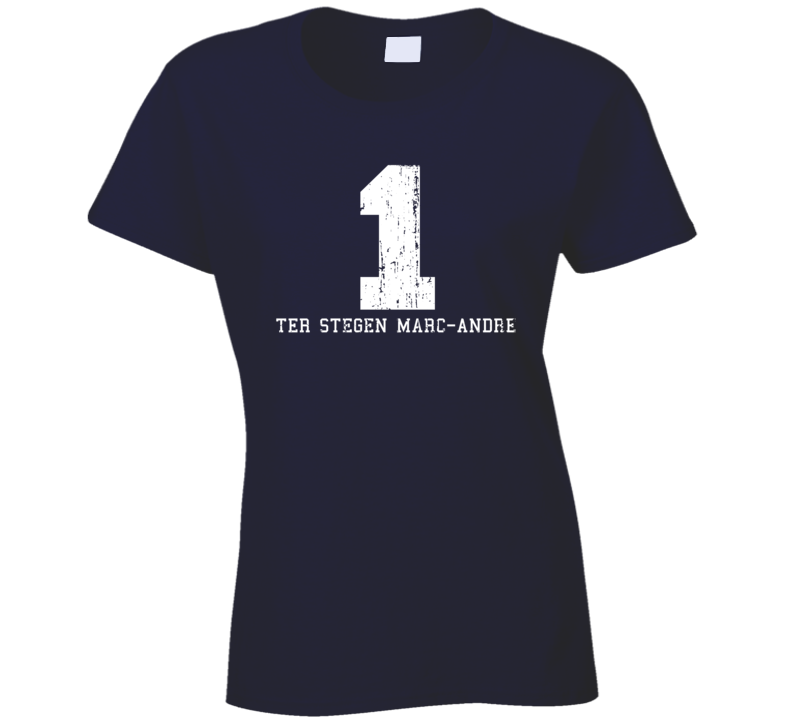 ter Stegen Marc-Andre #1 Barcelona Soccer Worn Look Ladies T Shirt