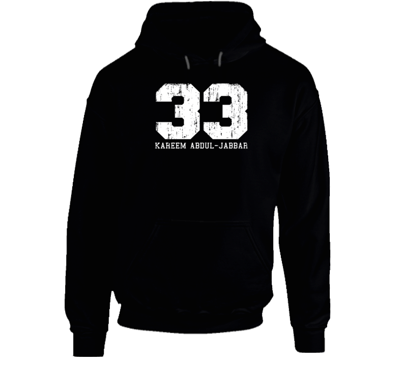 Kareem Abdul-Jabbar #33 Los Angelos Basketball Worn Look Sports Hoodie