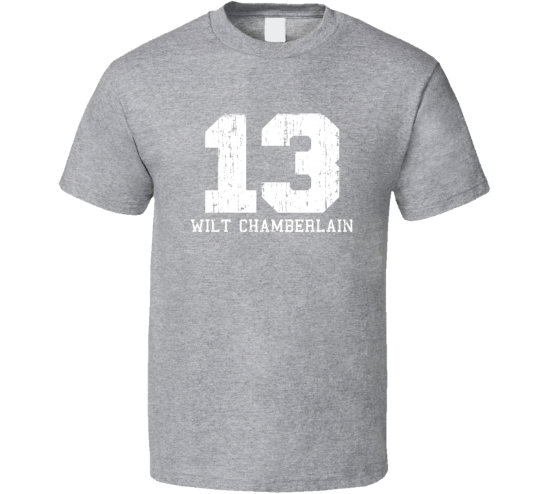 Wilt Chamberlain #13 Philadelphia Basketball Worn Look Sports T Shirt