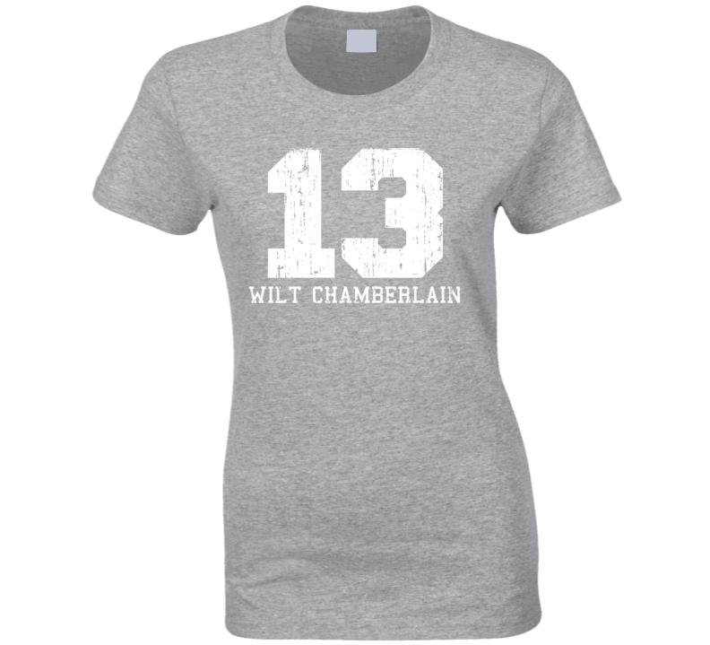 Wilt Chamberlain #13 Philadelphia Basketball Worn Look Ladies T Shirt
